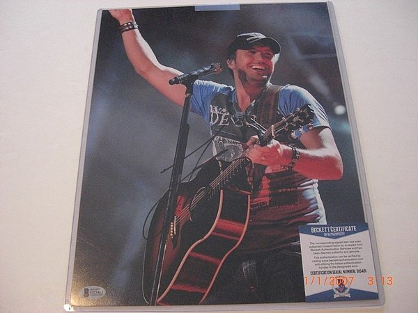 Luke Bryan Country Musician Kick The Dust Up Sports Memorabilia Beckett/Coa Signed Autograph 11x14 Photo