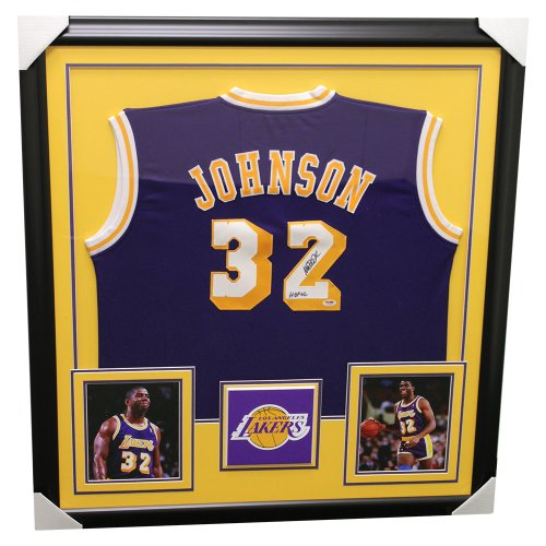 Magic Johnson Los Angeles Lakers Framed Autographed Custom Jersey - PSA/DNA Certified Authentic