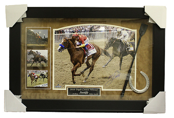 Mike Smith Autographed Justify Triple Crown Commemorative Framed Piece w Horseshoe