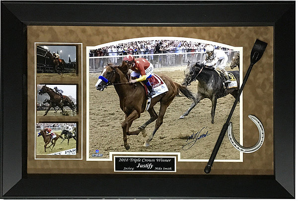 Mike Smith Autographed Justify Triple Crown Photo Horseshoe Whip Framed Auto Steiner