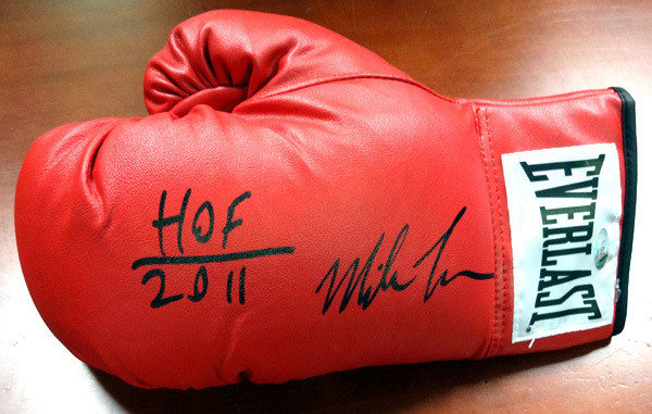 Mike Tyson Autographed Red Everlast Boxing Glove HOF 2011 LH TriStar