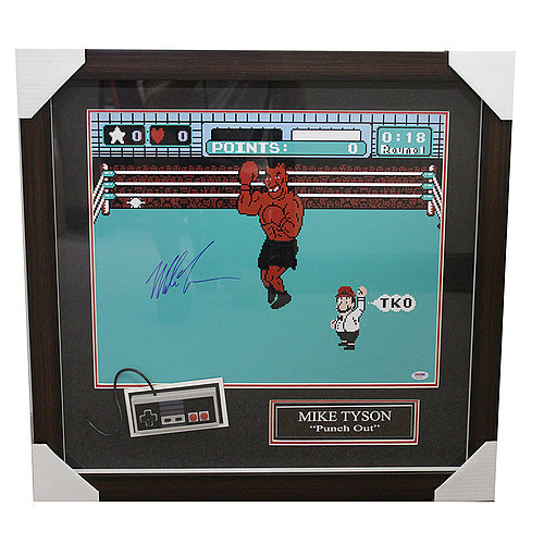 Mike Tyson Punch Out Framed Autographed Game Image Shadow Box with Nintendo Controller - PSA/DNA Authentic