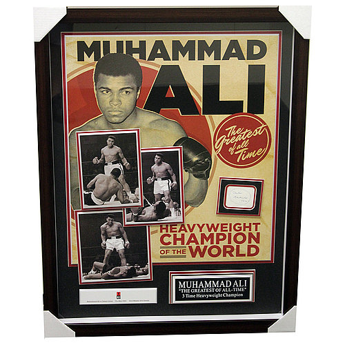 Muhammad Ali Framed Shadowbox Featuring Cut Signature and Ali Vs. Liston Photos - PSA/DNA Authentic