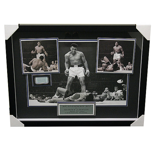 Muhammad Ali vs. Sonny Liston Framed Shadowbox Featuring Cut Signature - PSA/DNA Authentic