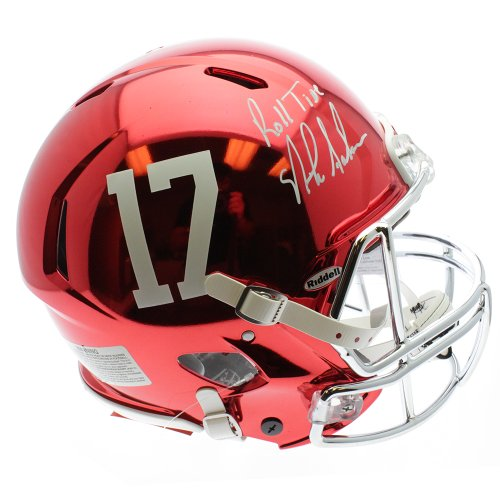 Nick Saban Alabama Crimson Tide Autographed Red Chrome Full Size Helmet with Roll Tide Inscription - PSA/DNA Authentic