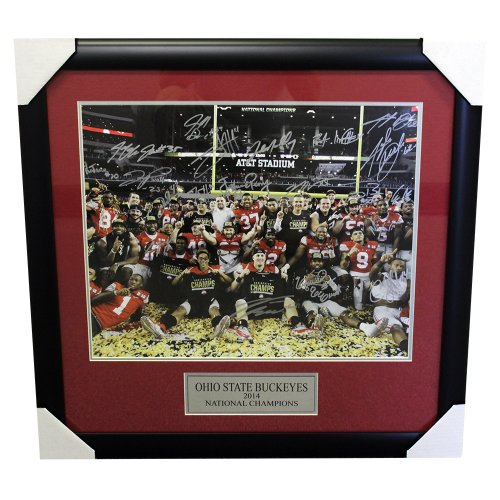 Ohio State Buckeyes 2014 National Champions Framed Autographed 16x20 Photo - Certified Authentic