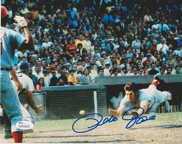 Pete Rose Autographed 8x10 Photo JSA Authenticated Reds