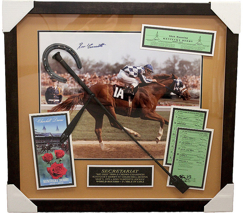 Ron Turcotte Kentucky Derby Autographed Secretariat 16x20 Shadow Box - PSA/DNA Authentic
