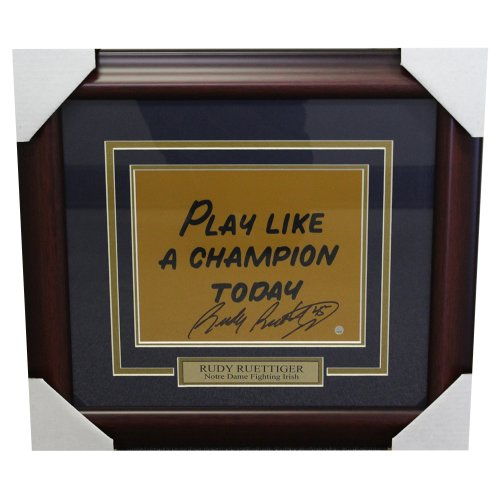 Rudy Ruettiger Notre Dame Framed Autographed 'Play Like a Champion Today' 8x10 - Steiner Authentic