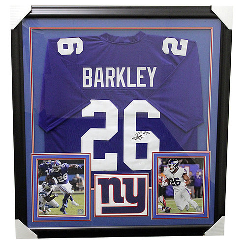 Saquon Barkley New York Giants Framed Autographed Jersey - JSA Authentic