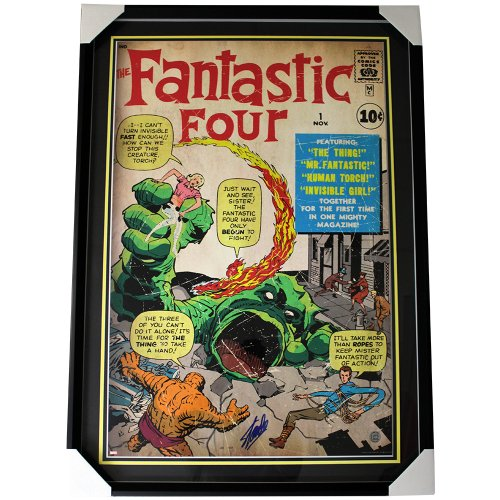 Stan Lee Autographed Fantastic Four Large Framed Marvel Comic Cover Poster Shadowbox Bottom Sig - SLC Authentic