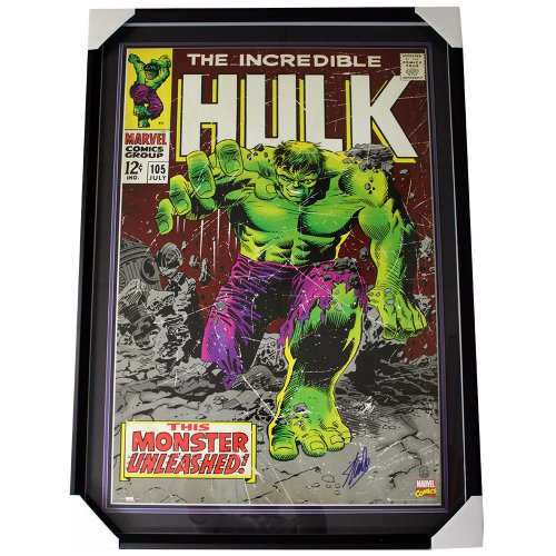 Stan Lee Autographed Incredible Hulk Large Framed Marvel Comic Cover Poster Shadowbox - SLC Authentic