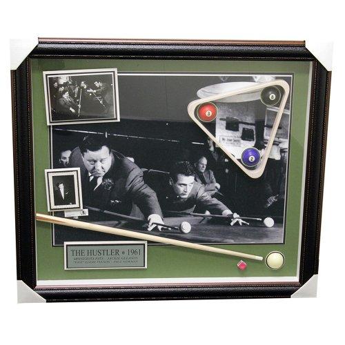 The Hustler Jackie Gleason Framed Autographed Billards Pool Balls Piece - Beckett Certified Authentic