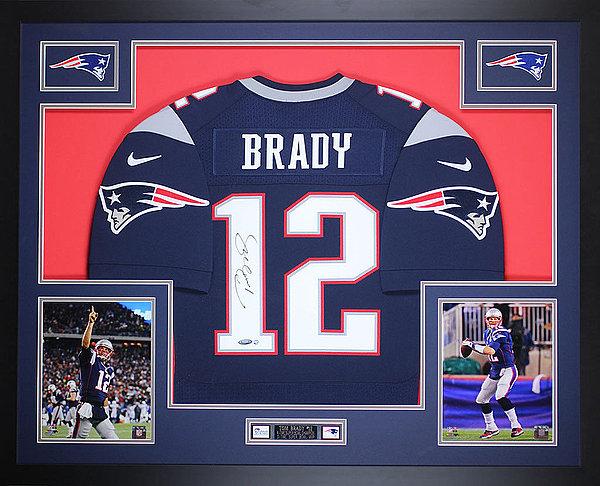 Tom Brady Autographed & Framed Blue Patriots Nike Jersey Tristar Coa D14