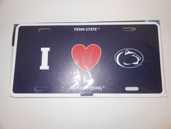 I Heart Penn State License Plate Plastic