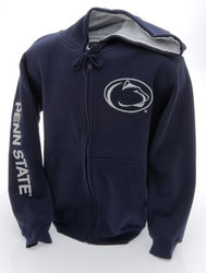 Penn State Embroidered Zip Up Hooded Sweatshirt Lion Head Navy