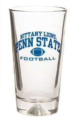 Penn State Football Glass 16 oz. Laser Etched Bottom