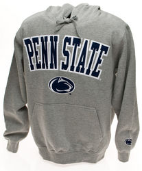 Penn State Hooded Embroidered Sweatshirt Gray Arching Over Lion