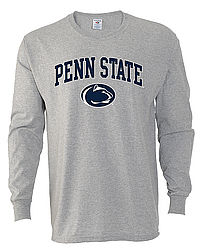 Penn State Long Sleeve Gray Arching Over Lion Head