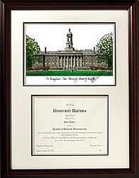 Pennsylvania State University Graduate Framed Lithograph with Diploma - Museum Quality