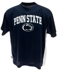 Penn State Performance T-Shirt Navy With White Inserts Arching Over Lionhead