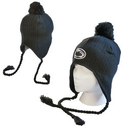 Penn State Winter Hat With Ear Flaps Navy Pom Top