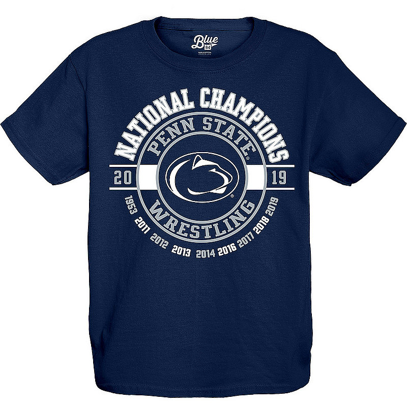 60c41a23 Blue 84 Penn State Youth Wrestling 2019 National Champs Legacy T-Shirt  Nittany Lions (