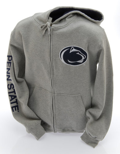 E5 Penn State Embroidered Zip Up Hooded Sweatshirt Lion Head Gray Nittany Lions (PSU) (E5)
