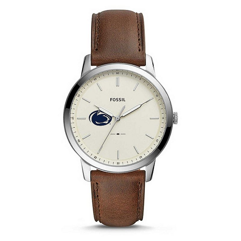FOSSIL Penn State Mens Brown Leather Minimalist Stainless Steel Watch Nittany Lions (PSU) (FOSSIL)