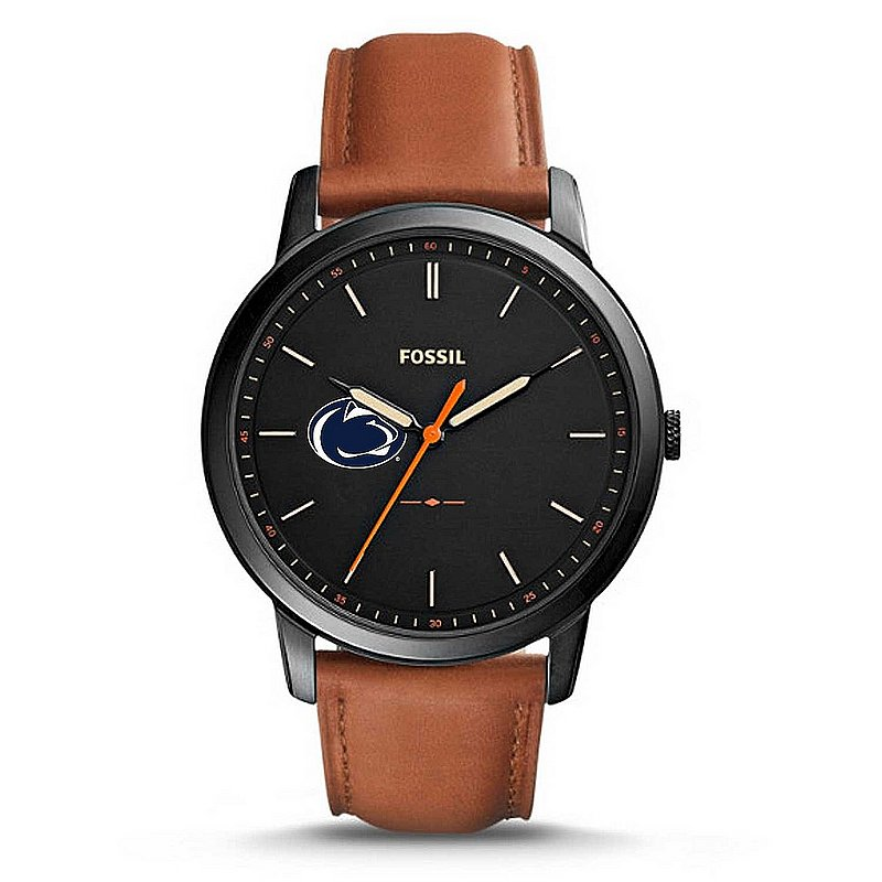 FOSSIL Penn State Mens Leather Minimalist Stainless Steel Watch Nittany Lions (PSU) (FOSSIL)