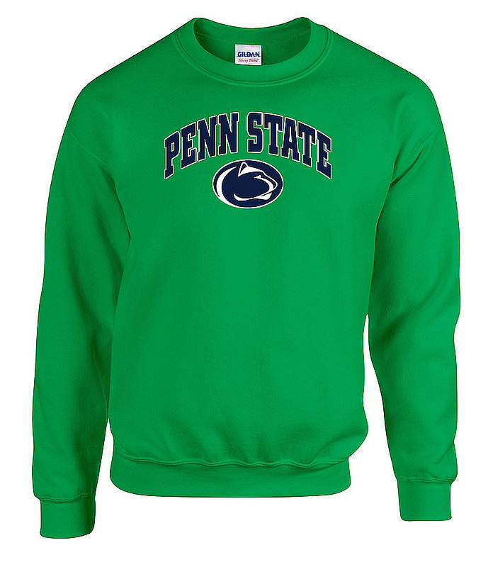 """Green Crewneck Sweatshirt with """"Penn State"""" Arching Over Lion Head Nittany Lions (PSU)"""