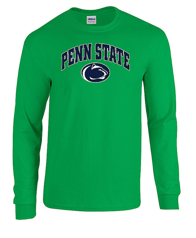 """Green Long Sleeve Shirt with """"Penn State"""" Arhcing Over Lion Head Nittany Lions (PSU)"""