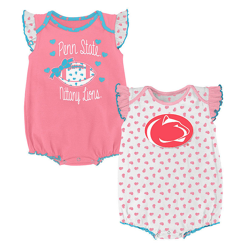 Penn State 2 Pack Coral Heart Fan Onesie Nittany Lions (PSU)