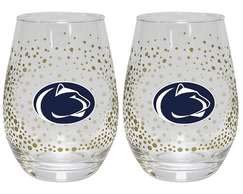 Penn State 2 Piece Glitter Wine Glass Set Nittany Lions (PSU)