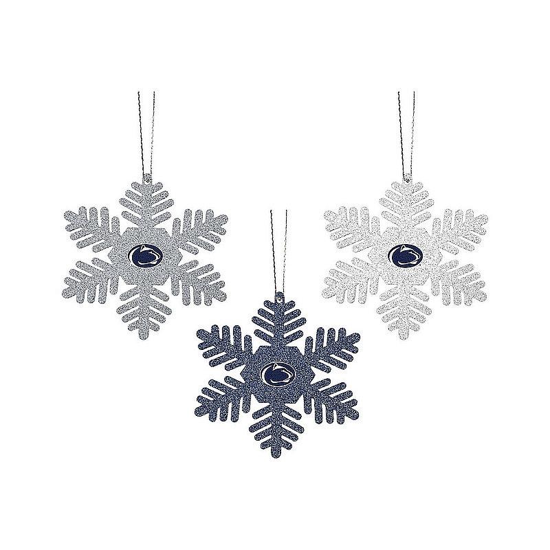Penn State 3 Pack Metal Glitter Snowflake Ornaments Nittany Lions (PSU)