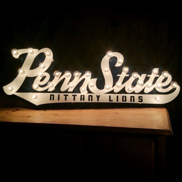 Penn State 3D Script Heavy Iron Light Up Sign Nittany Lions (PSU)