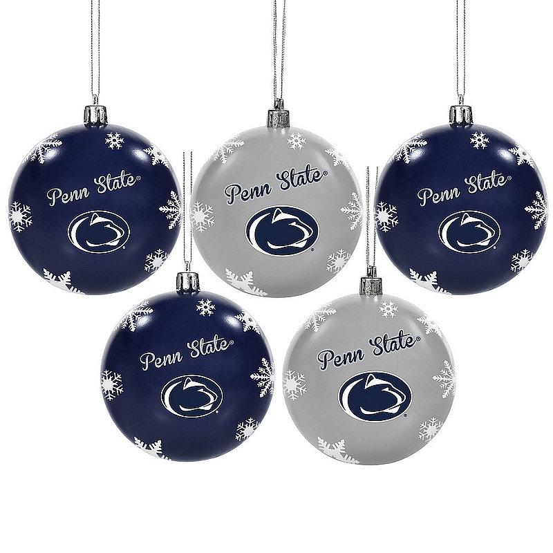 Penn State 5 Pack Shatterproof Ball Ornament Set Nittany Lions (PSU)