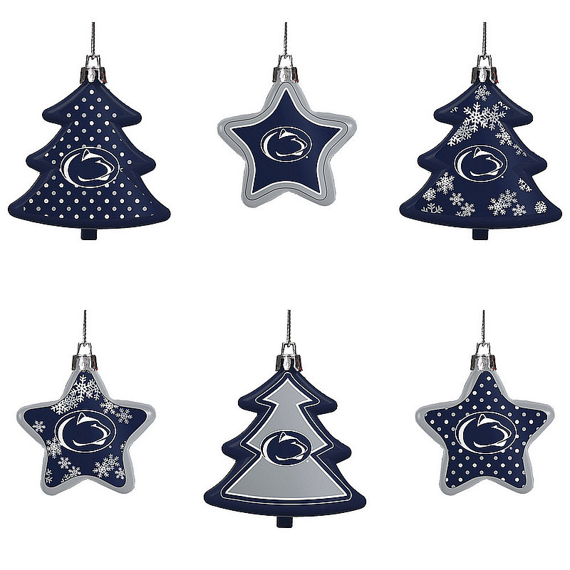 Penn State 6 Pack Shatterproof Tree & Star Ornament Set Nittany Lions (PSU)