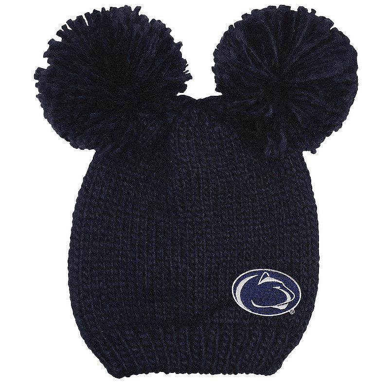 Penn State Double Pom Knit Hat Navy