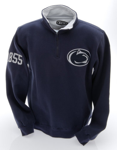 Penn State Embroidered Quarter Zip Sweatshirt Navy with White Collar Nittany Lions (PSU) PST9A416