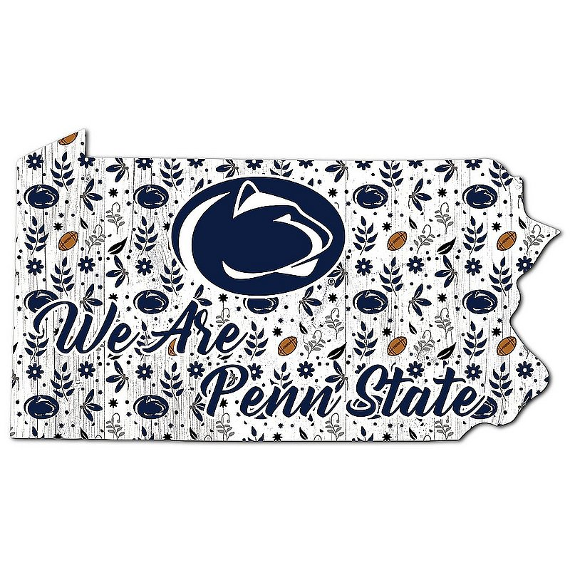 Penn State Floral Football State PA Outline Wood Sign Nittany Lions (PSU)