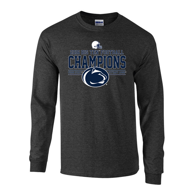 Penn State Football Big Ten Champs Long Sleeve Tshirt Charcoal 2016 Nittany Lions (PSU) P0007041
