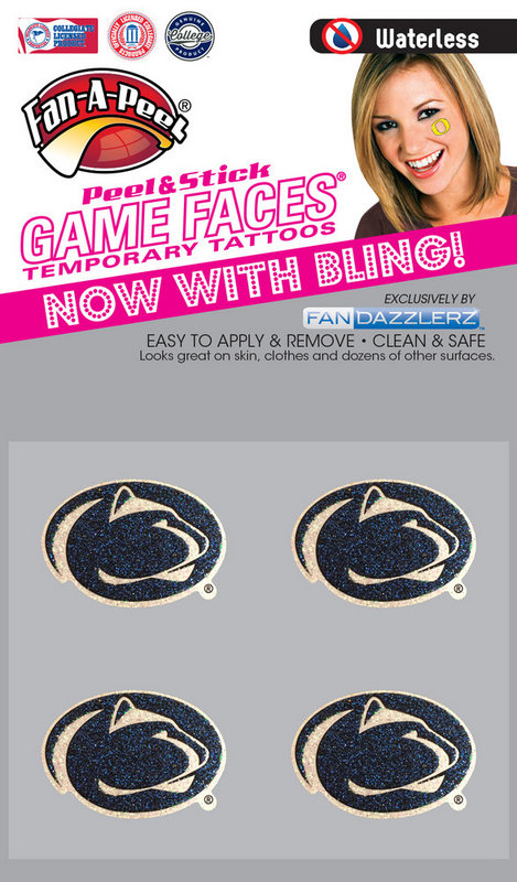 Penn State Game Faces Tattoos - Glitter Lion Heads Nittany Lions (PSU)