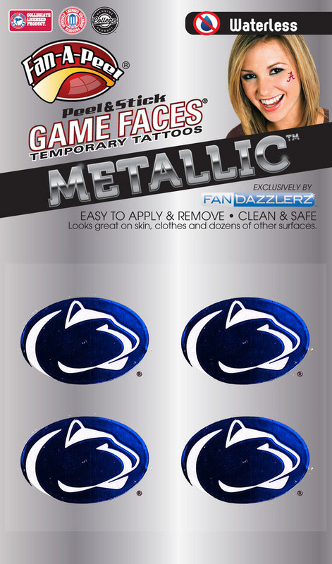 Penn State Game Faces Tattoos - Metallic Lion Heads Nittany Lions (PSU)