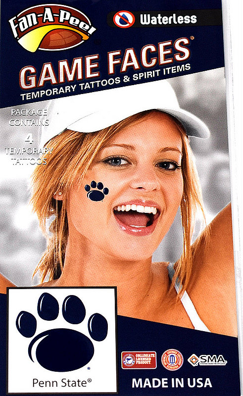 Penn State Game Faces Tattoos - Paws Nittany Lions (PSU) 748532720361