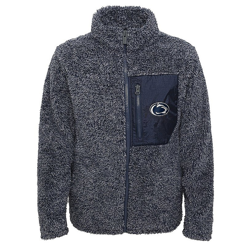 Penn State Girls Teddy Sherpa Full Zip Jacket Heather Navy Nittany Lions (PSU)