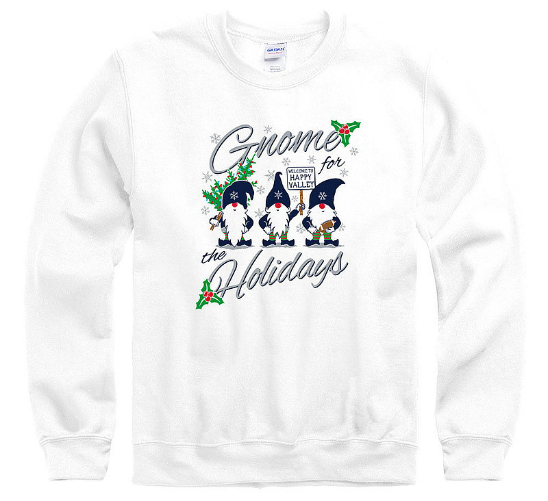 "Penn State ""Gnome for the Holidays"" White Crewneck Sweatshirt Nittany Lions (PSU)"