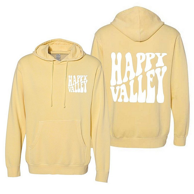 Penn State Happy Valley Retro Wavy Hooded Sweatshirt Light Yellow Nittany Lions (PSU)
