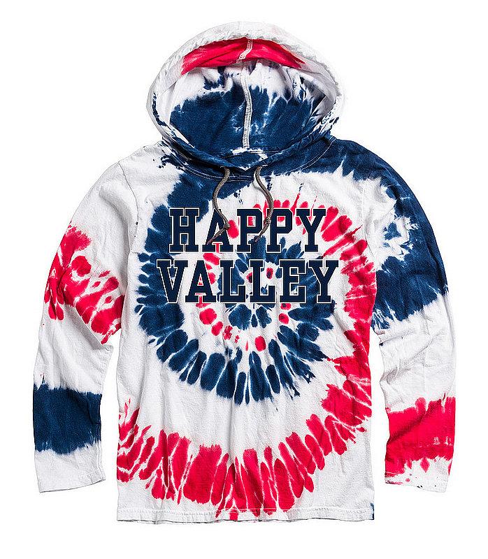 Happy Valley Tie Dye Patriotic Hooded Long Sleeve T-Shirt