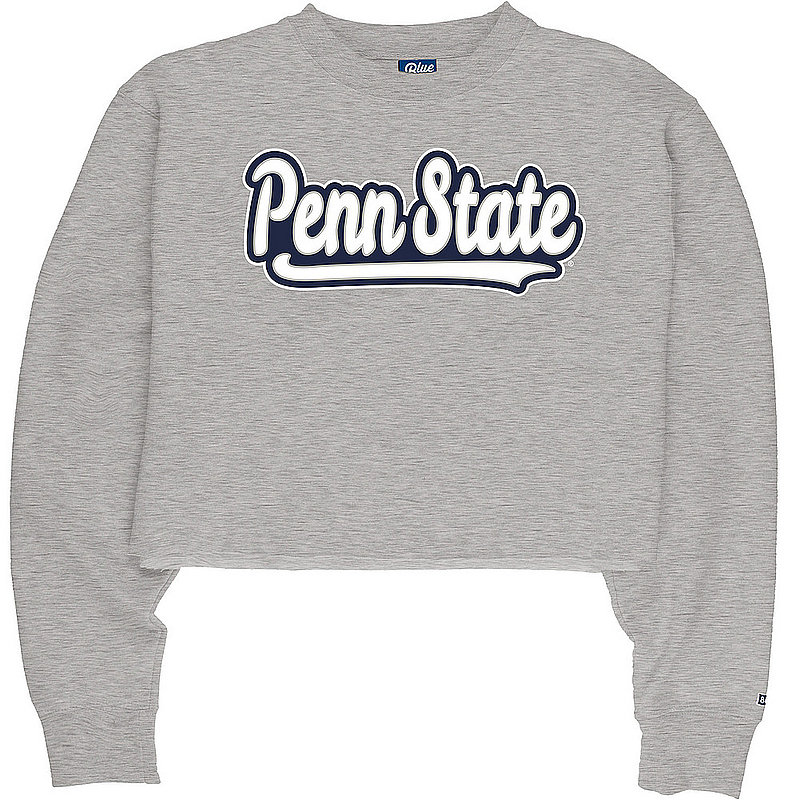 Penn State Heather Grey Baseball Script Raw Edge Crop Crew Nittany Lions (PSU)